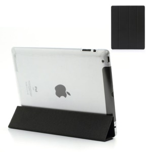 Black Slim Magnetic Leather Smart Cover Wake/Sleep with Back Hard Plastic Case for iPad 2 / 3 / 4