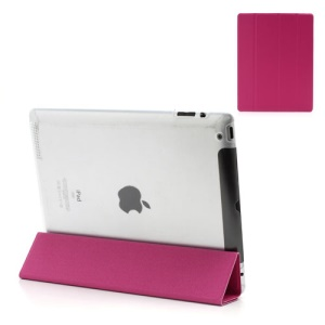 Rose Slim Magnetic Leather Smart Cover Wake/Sleep with Back Hard Plastic Case for iPad 2 / 3 / 4