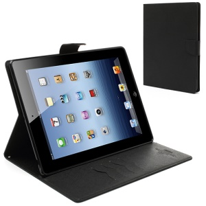 Mercury Goospery Leather Fancy Diary Wallet Flip Case Cover for iPad 2 / 3 / 4 - Black