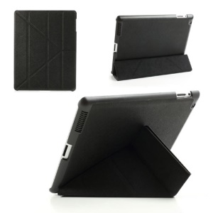 Black Unique Triangle Stand Cross Pattern Leather Case for iPad 2 3 4