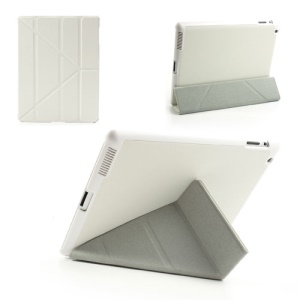 White Unique Triangle Stand Cross Pattern Leather Case for iPad 2 3 4