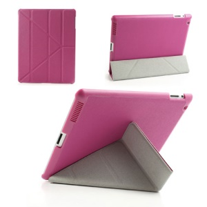 Rose Unique Triangle Stand for iPad 2 3 4 Cross Pattern Leather Case