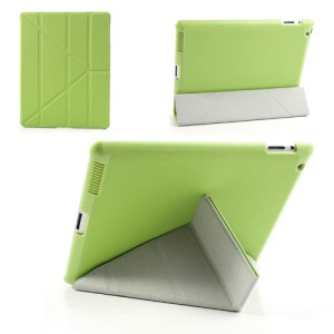 Green Unique Triangle Stand for iPad 2 3 4 Cross Pattern Leather Cover