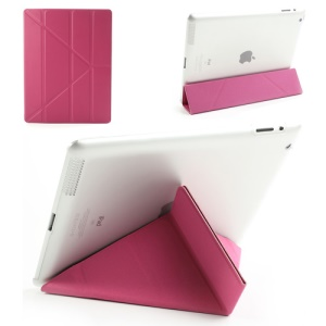 Rose Slim PU Leather Smart Cover with Back Hard Plastic Case for iPad 2 / 3 / 4