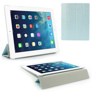 Light Blue for iPad 2 / 3 / 4 Four-Fold Silk Grain Leather Stand Case