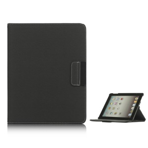 360 Degree Rotating Folio Canvas Stand Case with Stylus for iPad 2nd 3rd 4th Generation - Black