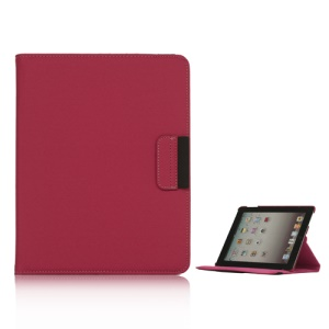 360 Degree Rotating Folio Canvas Stand Case with Stylus for iPad 2nd 3rd 4th Generation - Red