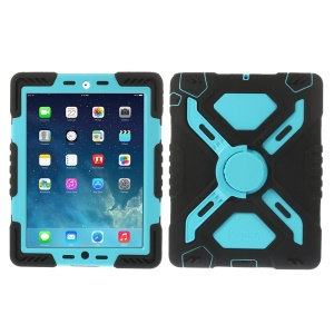 Pepkoo Spider Series Silicone PC Extreme Heavy Duty Case for iPad 2 3 4 - Blue / Black