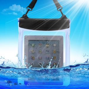 Underwater Tablet Waterproof Case Dry Bag for iPad 4 3 2 with Strap (Size: 265x 245mm) - Transparent Blue