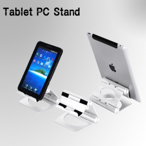 Solid Aluminum Folding Pivot Stand Holder for Apple iPad / Tablet PC / Cell Phone - Silver