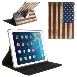 Vintage USA National Flag 360 Rotary Stand Leather Smart Cover for iPad Air 5