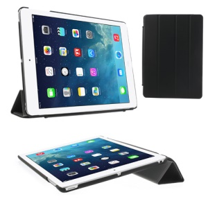 Four-fold Stand Smart Awakening Leather Protective Case for iPad Air 5 - Black