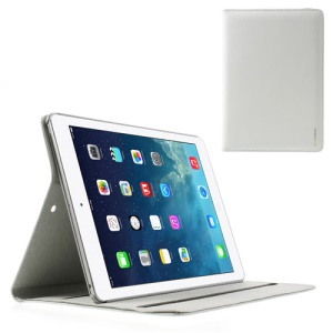 White Doormoon Genuine Leather Smart Cover w/ Stand for iPad Air 5