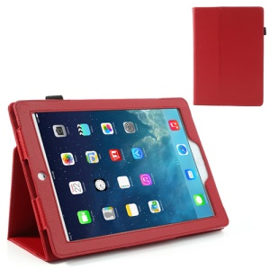 Red for iPad Air Litchi Leather Stand Cover + Stylus Pen