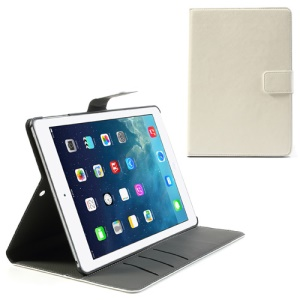 White Crazy Horse Leather Wallet Stand Case para iPad Air