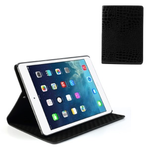 Black Crocodile Texture Leather Stand Cover for iPad Air