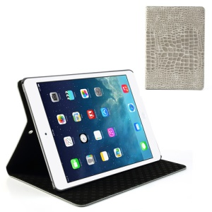 Grey Crocodile Leather Stand Case for iPad Air