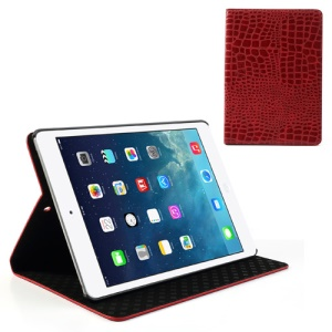 Red Crocodile Leather Stand Case for iPad Air