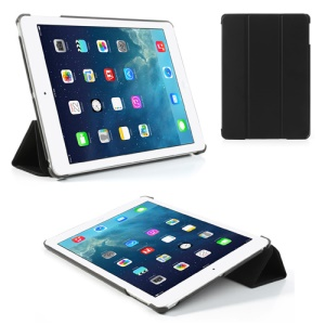Black Tri-Fold Stand PU Leather Case for iPad Air