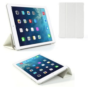 White Tri-Fold Stand PU Leather Case for iPad Air