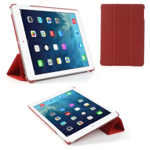Red Tri-Fold Stand PU Leather Cover for iPad Air