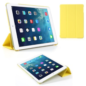 Yellow Tri-Fold Stand PU Leather Cover for iPad Air