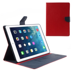 Mercury Goospery Leather Fancy Diary Wallet Flip Case Cover for iPad Air 5 - Dark Blue / Red