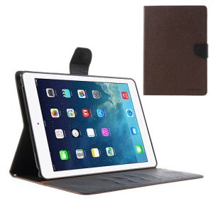 Mercury Goospery Fancy Diary Leather Wallet Cover para iPad Air w / Stand - negro / Castanho