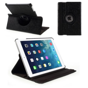 Embossed Flower Leather Protective Case for iPad Air 5 w/ 360 Rotary Stand - Black