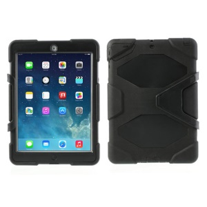 Military Duty PC + Silicone Hybrid Cover for iPad Air 5 with Kicktand - Black