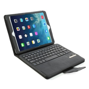 Removable Bluetooth 3.0 Keyboard Case Leather Cover w/ Stand for iPad Air / Air 2- Black