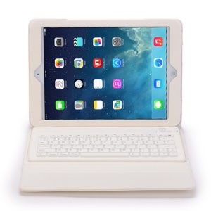 2 in 1 Bluetooth Keyboard Case Leather Cover for iPad Air / Air 2 - White