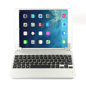 For iPad Air Aluminum Alloy Wireless Bluetooth Keyboard Case - Silver
