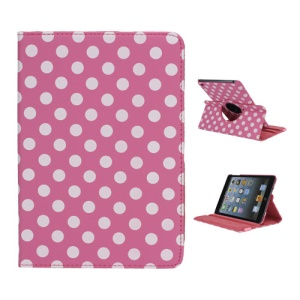 Polka Dot 360 Rotating Swivel Stand Leather Case Cover for iPad Mini - White / Rose