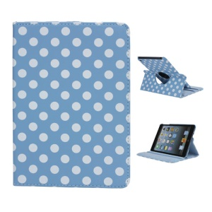 Polka Dot 360 Rotating Swivel Stand Leather Case Cover for iPad Mini - White / Blue