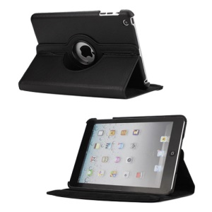 360 Degree Rotating PU Leather Case Cover Stand for iPad Mini - Black
