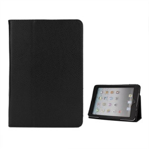 Lychee Skin PU Leather Stand Case Cover for iPad Mini / iPad Mini Retina - Black
