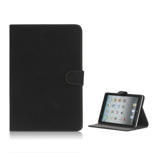 Antique Grain Magnetic Stand PU Leather smart Cover Case for iPad Mini - Black