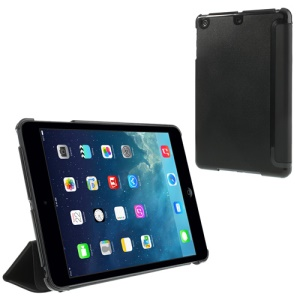 Black Folio Tri-fold Smart Leather Cover + PC Back Case for iPad mini / iPad mini 2 with Retina Display