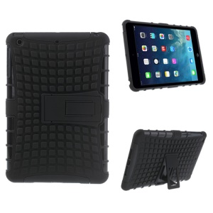Grid Plastic & TPU Hybrid Case w/ Stand for iPad Mini / iPad Mini with Retina Display - Black