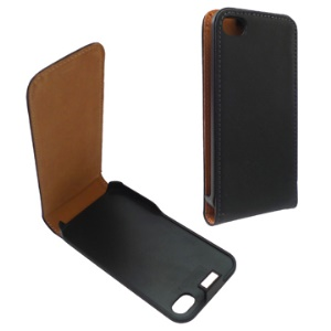 Classic Vertical Genuine Split Leather Skin Case for iPhone 4 4S (All Versions) - Black