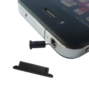 2 in 1 For iPhone 4G Anti Dust Plug Stopper Set (Dock Stopper and Earphone Plug);Black