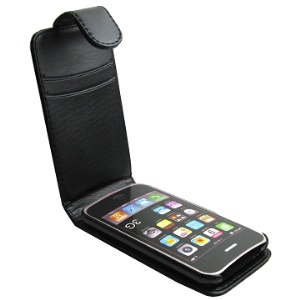 Stylish For iPhone 3G & For iPhone 3GS Vertical Leather Case with Magnetic Flip;Black