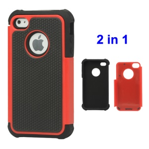 Grainy Defender Case Cover for iPhone 4 4S - Red
