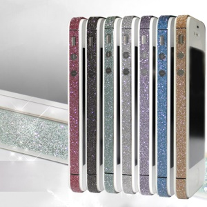 Bling Bling Diamond Edge Wrap Decal Skin Cover for iPhone 4 4S;BabyBlue