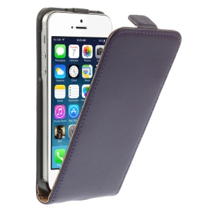 Genuine Split Leather Vertical Flip Magnetic Case for iPhone SE 5s 5 - Purple