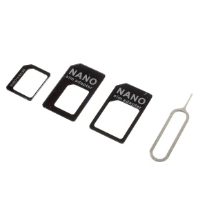 3 in 1 Nano SIM to Micro SIM / Standard SIM Card Adapters for iPhone 5 4S 4 - Black