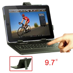 9.7 Inch Tablet PC Leather Keyboard Case with Holder & USB Cable;Micro USB Port