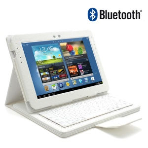 White Removable Wireless Bluetooth Keyboard Leather Case Stand for Samsung Galaxy Note 10.1 N8000 N8010