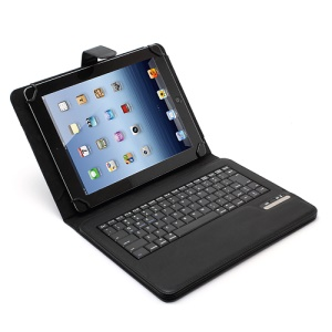 Universal Removable Bluetooth Keyboard Case Lychee Leather Cover for 9-inch & 10-inch Tablet - Black